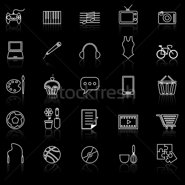Hobby line icons with reflect on black Stock photo © punsayaporn