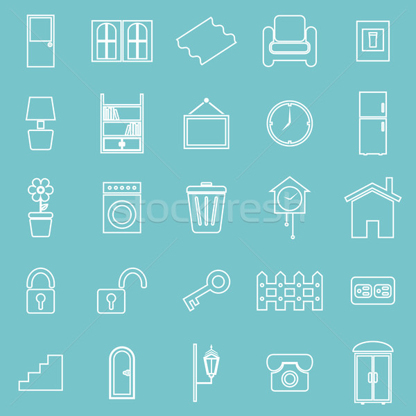 House related line icons on blue background Stock photo © punsayaporn