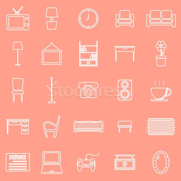 Living room line icons on orange background Stock photo © punsayaporn