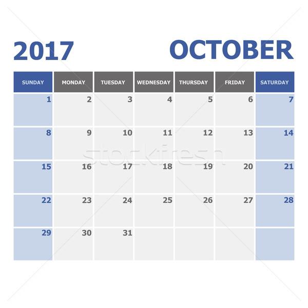 2017 October calendar week starts on Sunday Stock photo © punsayaporn