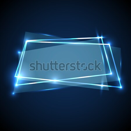Abstract background with blue neon banner Stock photo © punsayaporn