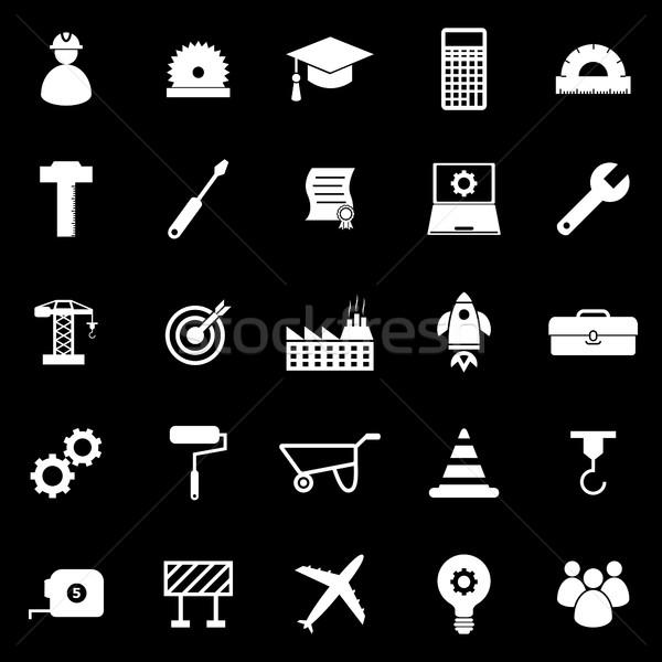 Mérnöki ikonok fekete stock vektor ipar Stock fotó © punsayaporn