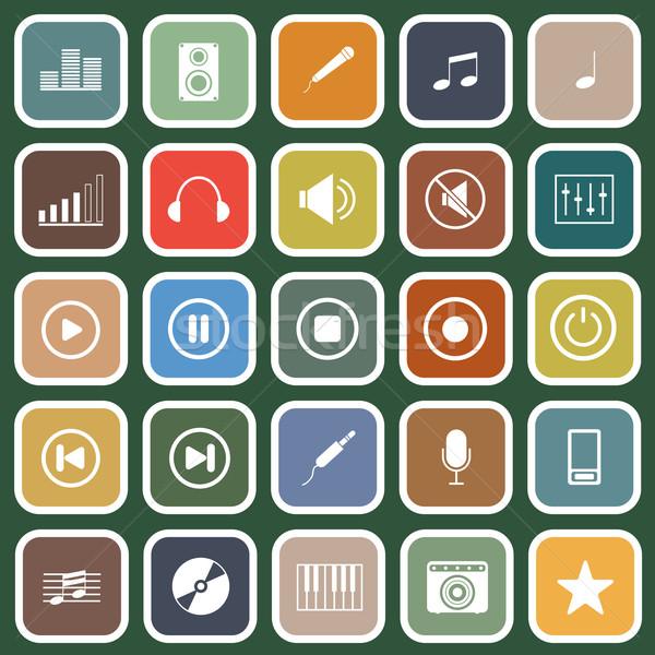 Stockfoto: Muziek · iconen · groene · voorraad · vector · ontwerp