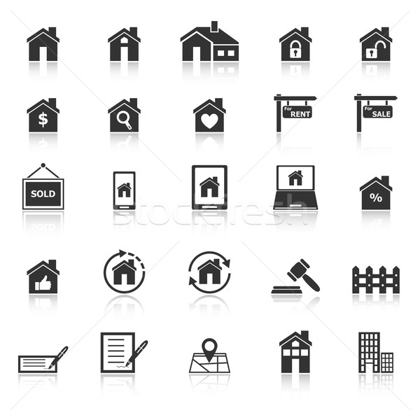 Real estate icons with reflect on white background Stock photo © punsayaporn