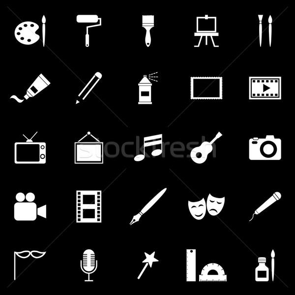 Art icons on black background Stock photo © punsayaporn