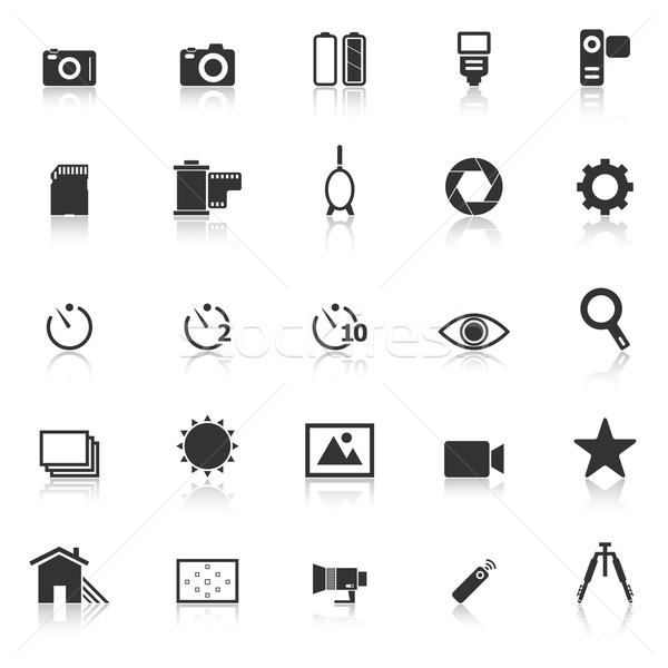 Camera icons with reflect on white background Stock photo © punsayaporn