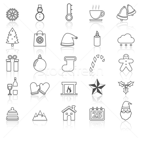 Winter line icons with reflect on white Stock photo © punsayaporn