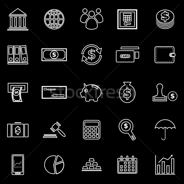 Banking line icons on black background Stock photo © punsayaporn