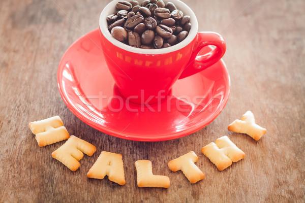 Gezonde alfabet biscuit Rood koffiekopje voorraad Stockfoto © punsayaporn