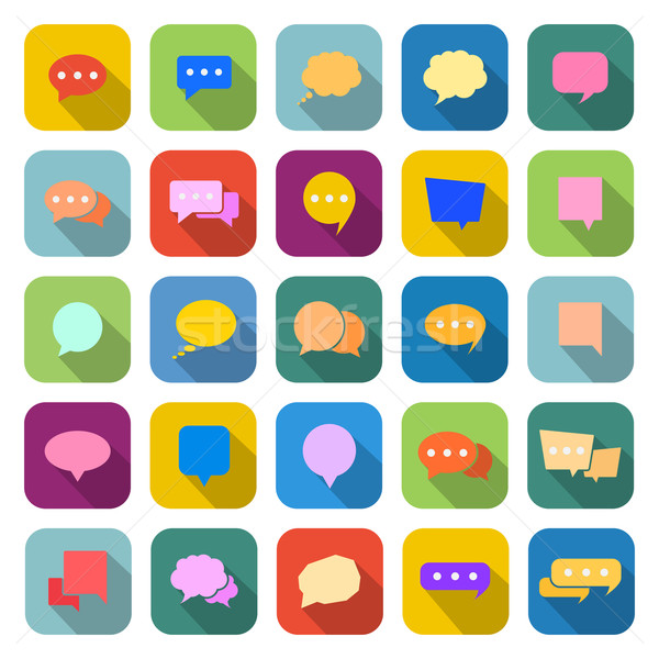 Speech bubble color icons with long shadow Stock photo © punsayaporn