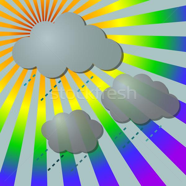 Chuvoso arco-íris nuvens negócio primavera Foto stock © punsayaporn