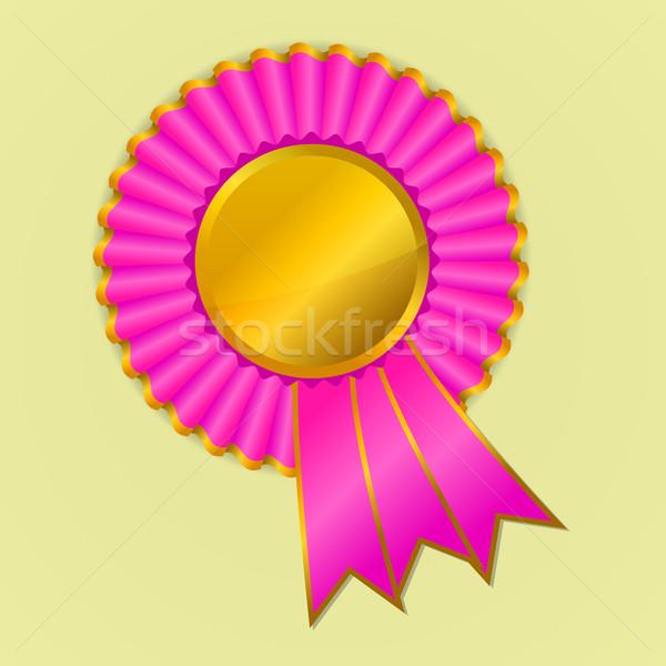Pink and gold award ribbon rosette on yellow background Stock photo © punsayaporn
