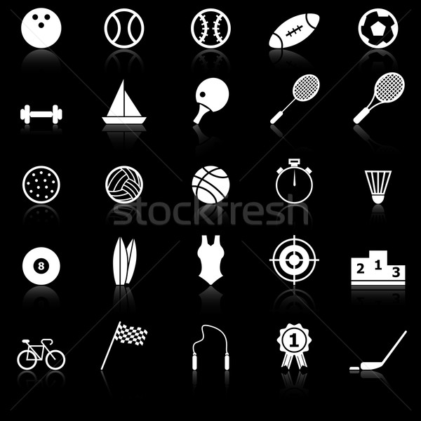Sport icons with reflect on black background Stock photo © punsayaporn