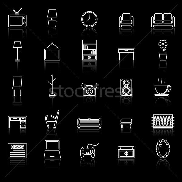 Living room line icons with reflect on black Stock photo © punsayaporn