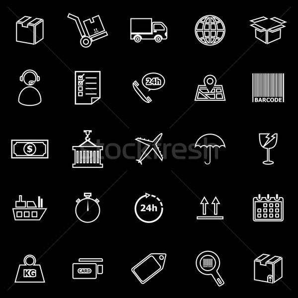 Logistique ligne icônes noir stock vecteur Photo stock © punsayaporn