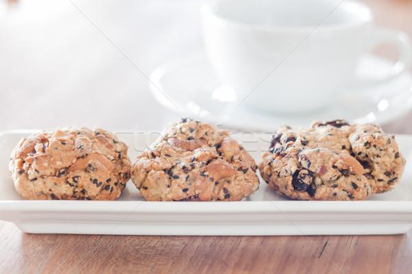 Gezonde cookies koffiekopje voorraad foto chocolade Stockfoto © punsayaporn