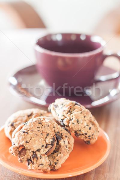 Stockfoto: Granen · cookies · oranje · plaat · voorraad