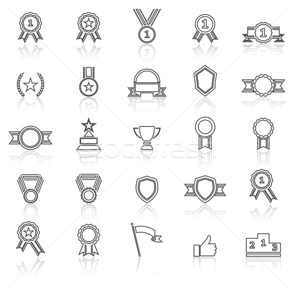 Award line icons with reflect on white Stock photo © punsayaporn