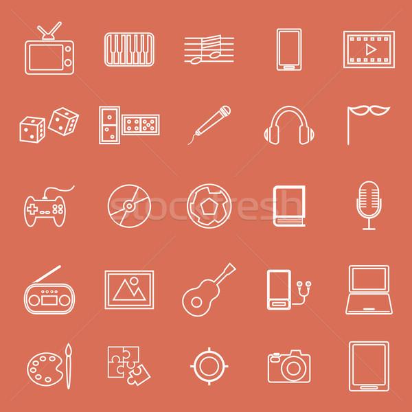 Entertainment line icons on orange background Stock photo © punsayaporn