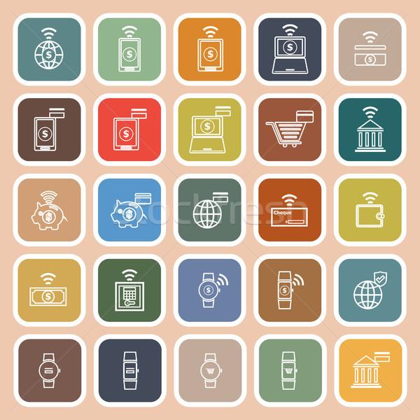 Lijn iconen oranje voorraad telefoon ontwerp Stockfoto © punsayaporn