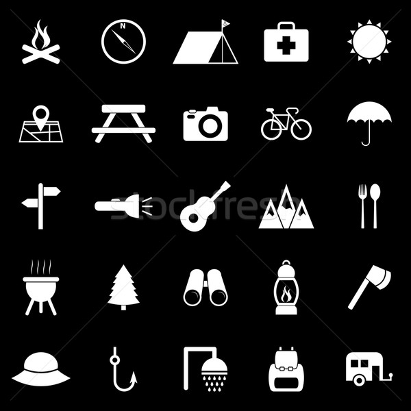 Camping icons on black background Stock photo © punsayaporn