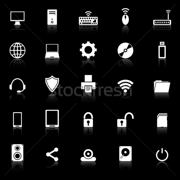 Computer icons with reflect on black background Stock photo © punsayaporn
