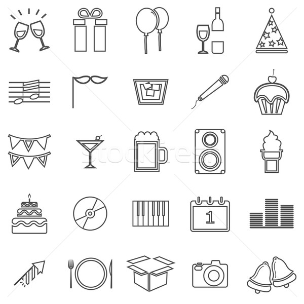 Stock photo: New Year line icons on white background