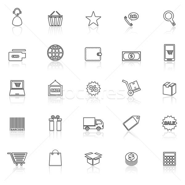 E-commerce line icons with reflect on white Stock photo © punsayaporn