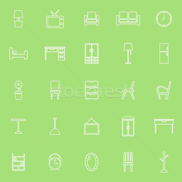 Mobilya hat simgeler yeşil stok vektör Stok fotoğraf © punsayaporn