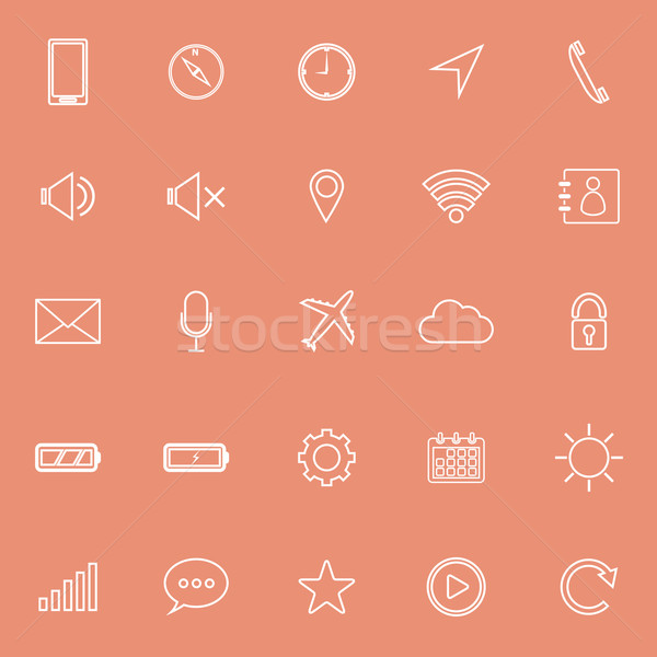 Teléfono móvil línea iconos naranja stock vector Foto stock © punsayaporn