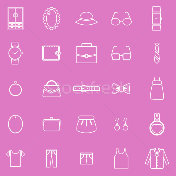 Dressing line icons on pink background Stock photo © punsayaporn