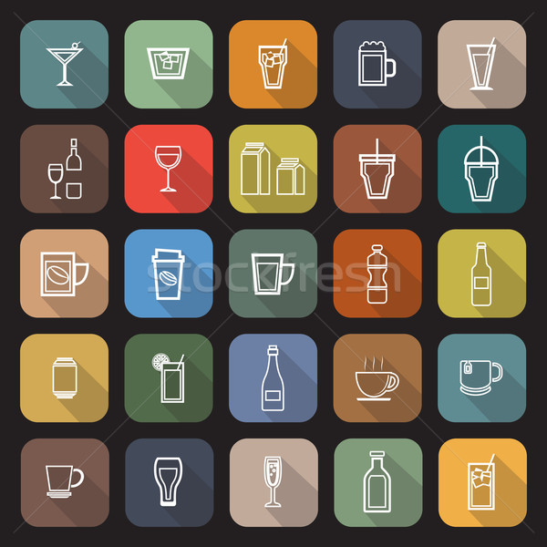 Drink line flat icons with long shadow Stock photo © punsayaporn
