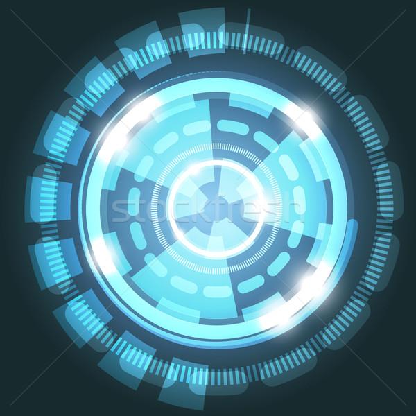 Abstrato tecnologia luz azul círculos estoque vetor Foto stock © punsayaporn