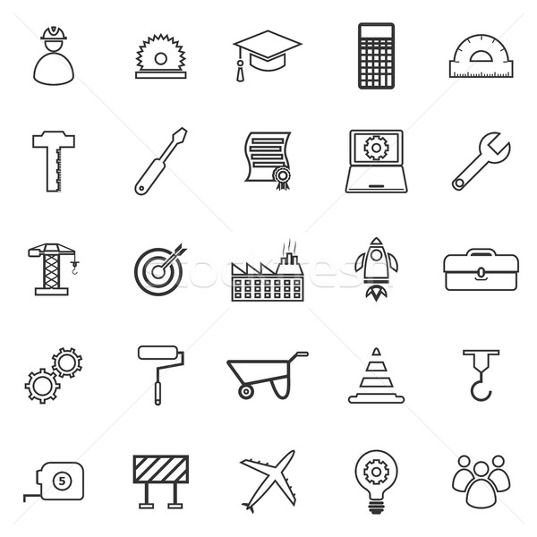 Engineering line icons on white background Stock photo © punsayaporn