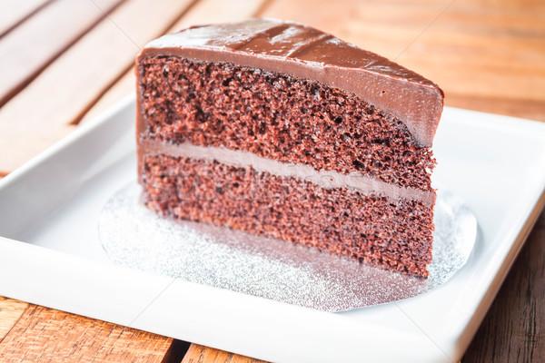Chocolate chiffon cake serving on white dish Stock photo © punsayaporn