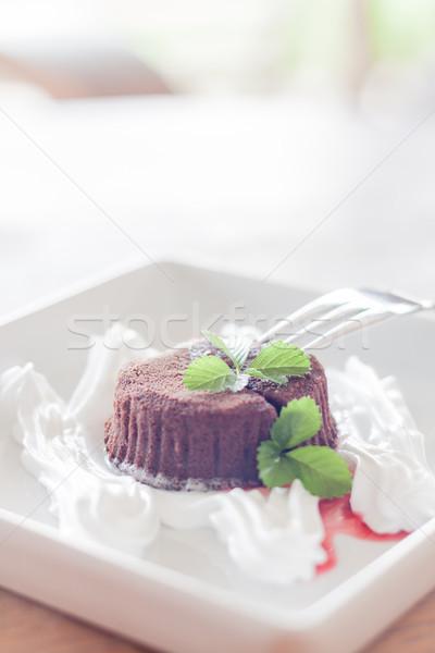 Chocolate lava garfo estoque foto Foto stock © punsayaporn