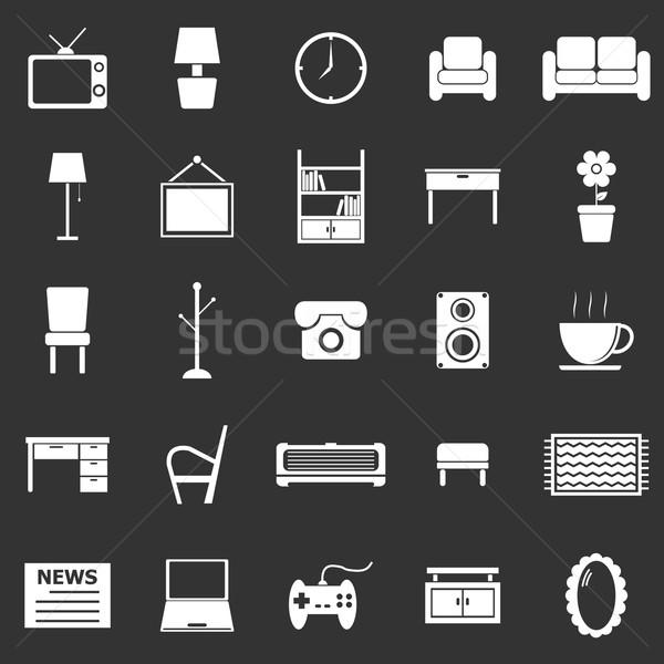 Living room icons on black background Stock photo © punsayaporn