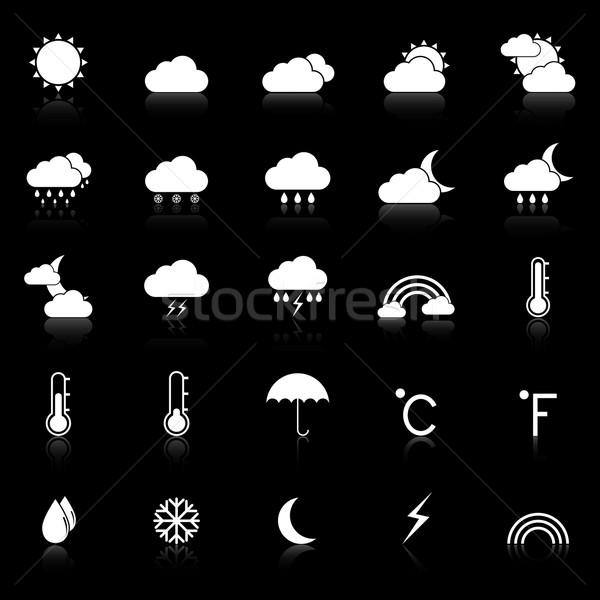 ストックフォト: 天気 · アイコン · 黒 · 在庫 · ベクトル · コンピュータ
