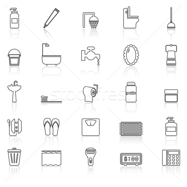 Bathroom line icons with reflect on white Stock photo © punsayaporn