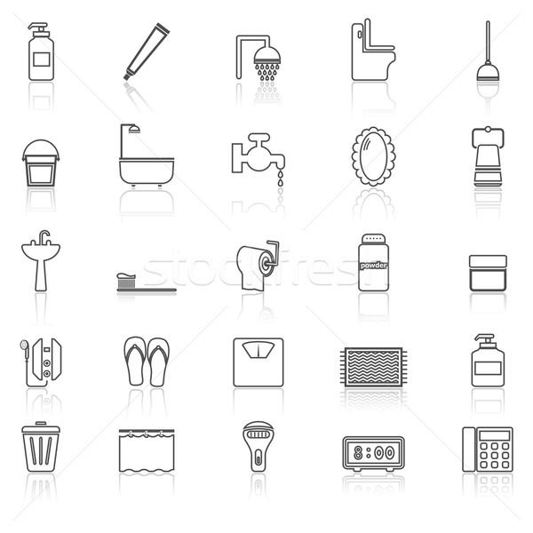 Salle de bain ligne icônes blanche stock vecteur Photo stock © punsayaporn