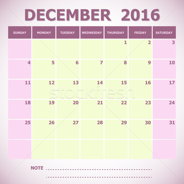 Calendar December 2016 week starts Sunday Stock photo © punsayaporn