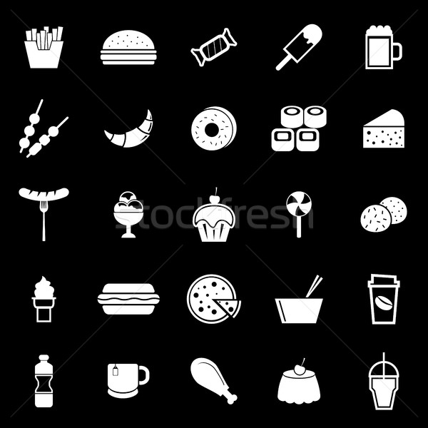 Fast food icons on black background Stock photo © punsayaporn