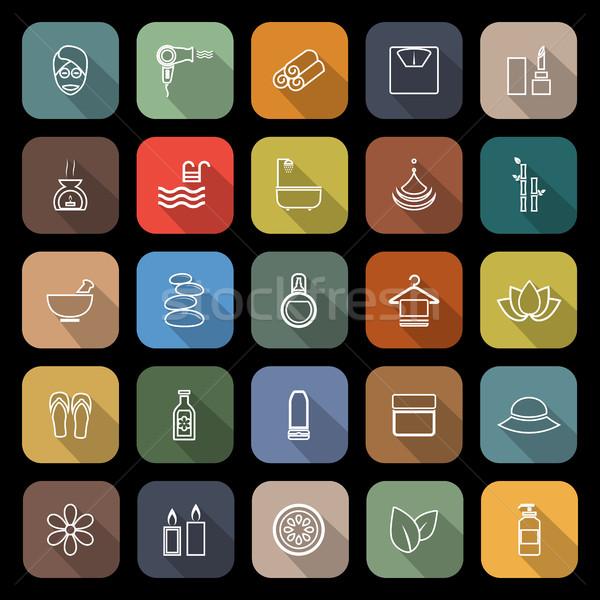 Schoonheid lijn iconen lang schaduw voorraad Stockfoto © punsayaporn