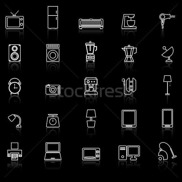 Household line icons with reflect on black background Stock photo © punsayaporn