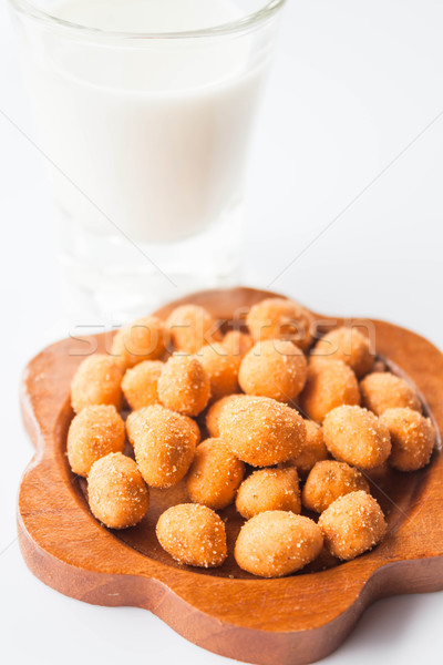 Spicy peanut snack and dairy fresh milk Stock photo © punsayaporn