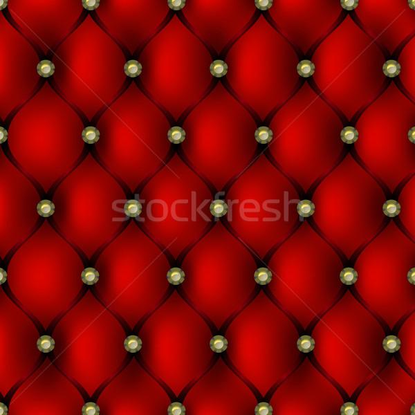 Zdjęcia stock: Czerwony · skóry · tapicerka · złota · przycisk · wzór