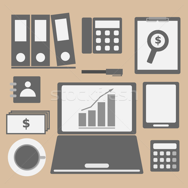 Internet investor at home office icon Stock photo © punsayaporn
