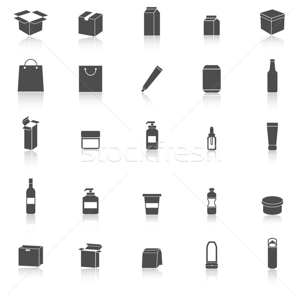 Packaging icons with reflect on white background Stock photo © punsayaporn