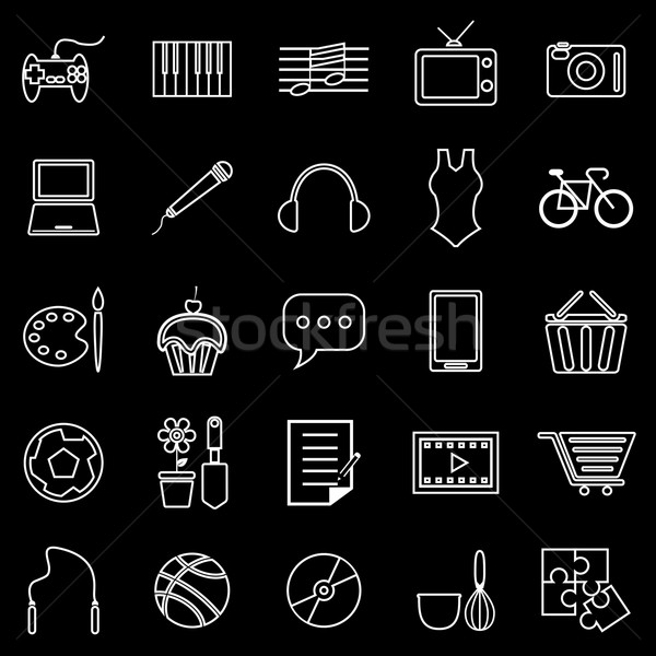 Hobby line icons on black background Stock photo © punsayaporn
