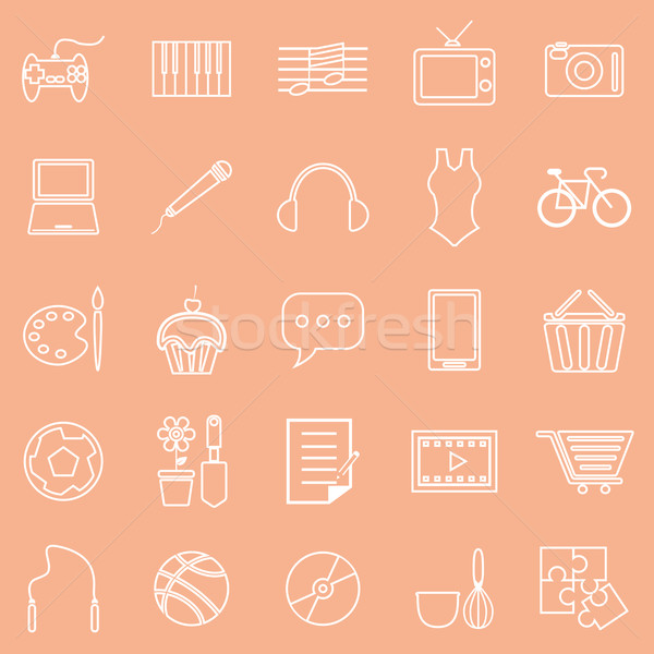 Hobby line icons on orange background Stock photo © punsayaporn